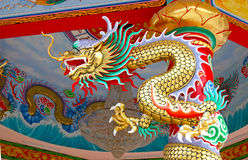 Colorful China dragon on oriental temple roof Stock Photography