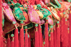 Colorful Chinese arts & crafts. Close up of colorful souvenirs in Jinli street market, Chengdu, Sichuan Province, China Royalty Free Stock Photos