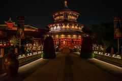 Colorful chinese building at Epcot in Walt Disney World Resort  2. Orlando, Florida. June 03, 2019. Colorful chinese building at Epcot in Walt Disney World stock images