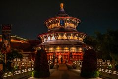 Colorful chinese building at Epcot in Walt Disney World Resort  1. Orlando, Florida. June 03, 2019. Colorful chinese building at Epcot in Walt Disney World stock images