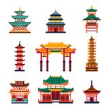 Colorful Chinese buildings, vector flat isolated illustration. China town traditional pagoda house. vector illustration
