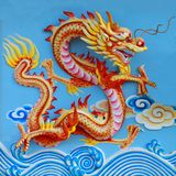 Colorful chinese dragon. At the wall of temple, Thailand Royalty Free Stock Photos