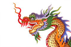 Colorful chinese dragon head statue. Colorful chinese dragon head statue on white background Stock Photography