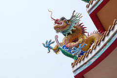Colorful Chinese dragon sculpture Stock Photos