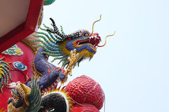 Colorful Chinese dragon sculpture Royalty Free Stock Images