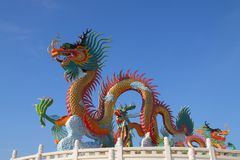 Colorful chinese dragon statue Stock Images