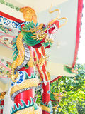 Colorful chinese dragon statue. On the pole stock images