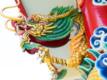 Colorful chinese dragon statue. On the pole royalty free stock photography