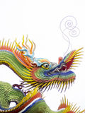 A colorful chinese dragon on white background. The dragon have green and yellow flakes with red and yellow fins. the dragon long mustaches point up toward sky royalty free stock image