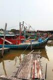 Colorful chinese fishing boat resting at a Chinese Fishing Village, Sekinchan, Malaysia Stock Images