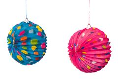 Colorful chinese lanterns. Two bright colored chinese lanterns ,isolated over white Royalty Free Stock Photography