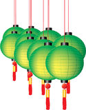 Colorful chinese lanterns with red tassels on whit. Colorful green chinese festive lanterns with red tassels on white background Royalty Free Stock Images