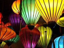 Colorful chinese lanterns. The chinese lanterns in various colors make an atmospheric light and ambience Royalty Free Stock Photo