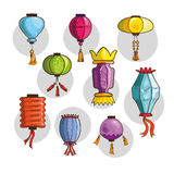 Colorful Chinese lights and lanterns Royalty Free Stock Images