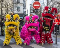 Colorful Chinese Lions - Chinese New Year Parade, Paris 2018 stock images