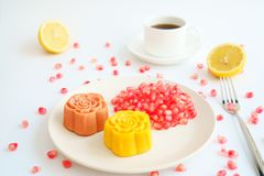 Free Colorful Chinese Moon Cakes And Coffee With White Background Stock Photography - 125487282