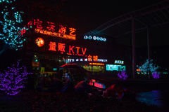 Colorful Chinese neon advertising. Night street view Royalty Free Stock Photos