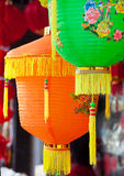 Colorful Chinese paper lanterns hanging in a street martket Royalty Free Stock Photo