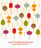 Colorful Chinese paper street lanterns background in flat style. New Year greeting card. Vector illustration vector illustration
