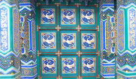 Colorful Chinese pavilion roof design with crane Stock Photo