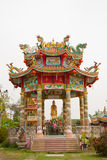 Colorful chinese pavilion in temple Stock Image