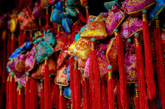 Colorful Chinese praying sachet Royalty Free Stock Images