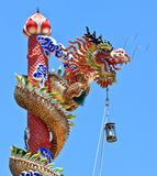 Colorful Chinese Stlye Dragon Statue. In Chinese shrine Royalty Free Stock Photos
