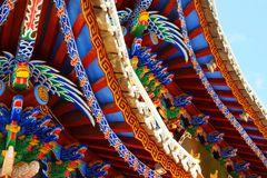 Colorful chinese temple. Detail of colorful roof of chinese temple royalty free stock photo