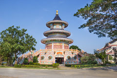 Colorful chinese temple,Kanchanaburi, Thailand Stock Photo