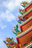 Colorful Chinese Temple Roof. With blue sky stock image