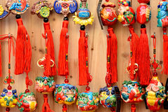 Colorful protective talisman in Chinese traditional style. Colorful Chinese traditional style protective talisman as decoration, means lucky, safety happy and Stock Images