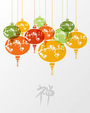 Colorful chinese zen lamps illustration Stock Photo