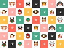 Colorful Chinese Zodiac 12 Animal Signs Chess Board Diamond Background. Vector Illustration Stock Photos