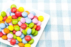 Colorful chocolate. This is a picture of six-color chocolate Stock Image