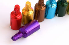 Colorful chocolate bottles Royalty Free Stock Image