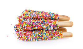 Colorful chocolate in bread stick Royalty Free Stock Photo