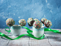 Colorful chocolate cake pops Stock Photos