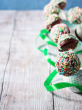 Colorful chocolate cake pops. Vertical Stock Photos