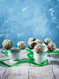 Colorful chocolate cake pops. Vertical Stock Images