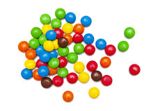 Colorful chocolate candies. Colorful candies isolated on the white background Stock Photography