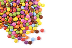 Colorful chocolate candies with copyspace Stock Images