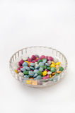 Colorful chocolate candies in a crystal bowl Royalty Free Stock Image