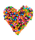 Colorful chocolate candy in heart shape Stock Images