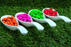 Colorful chocolate candy. Served on spoons with green grass background Stock Photos