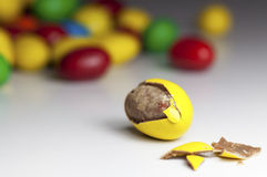 Colorful chocolate coated candy. Close up of colorful chocolate coated candy. Shallow depth of field stock photography