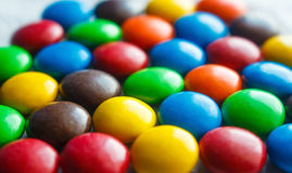Colorful chocolate coated candy. Colorful of chocolate coated candy,multiple color sweet candy Royalty Free Stock Photography