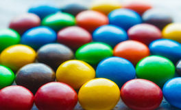 Colorful chocolate coated candy. Colorful of chocolate coated candy,multiple color sweet candy Royalty Free Stock Photo