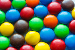 Colorful chocolate coated candy. Colorful of chocolate coated candy,multiple color sweet candy Royalty Free Stock Images
