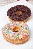 Colorful and chocolate Donut in white plate. Picture of Colorful and chocolate Donut in white plate Stock Photography
