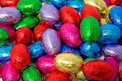Colorful chocolate easter eggs Stock Images
